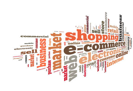 word: Illustration with word cloud on e-commerce