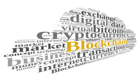 protocol: Illustration with word cloud with the word Blockchain. Stock Photo