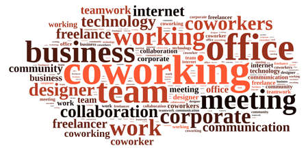 Illustration with word cloud with the word coworking.