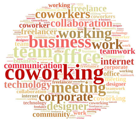 coworker: Illustration with word cloud with the word coworking.