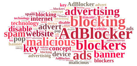 ad: Illustration with word cloud on ad blockers. Stock Photo