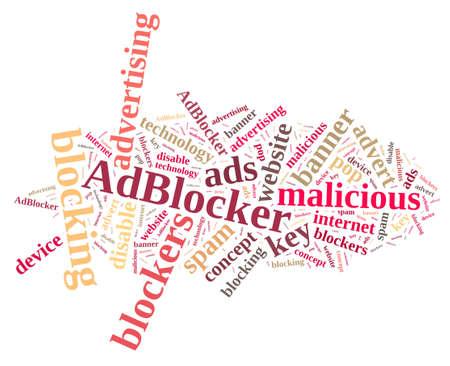 Ilustración con la nube de palabras de los bloqueadores de anuncios. Foto de archivo
