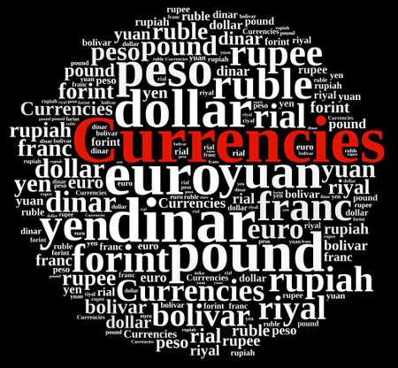 rupee: Illustration with word cloud related currencies.