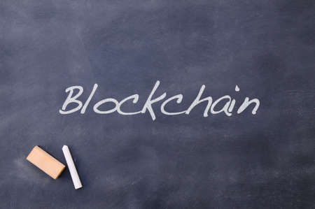Blackboard relating to Blockchain. Stockfoto