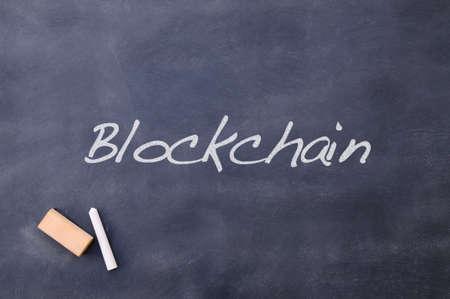 protocol: Blackboard relating to Blockchain. Stock Photo