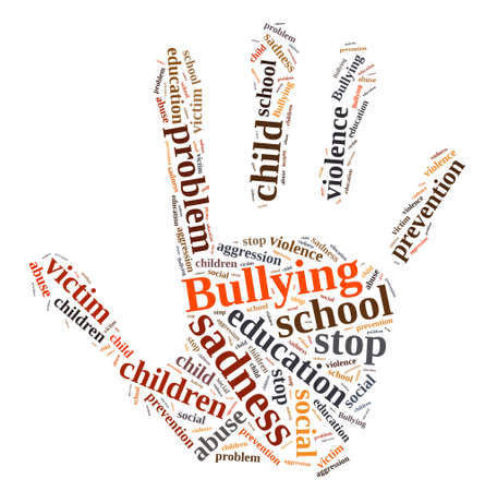 Illustration with word cloud relating to Bullying.