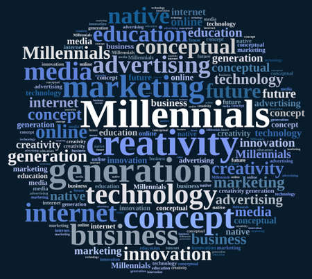 relating: Illustration with word cloud relating to Millennials.