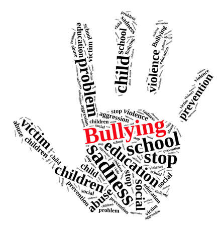 relating: Illustration with word cloud relating to Bullying.