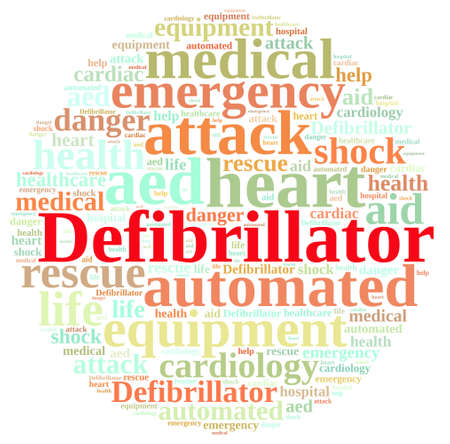 defibrillator: Illustration with word cloud relating to Defibrillator. Stock Photo