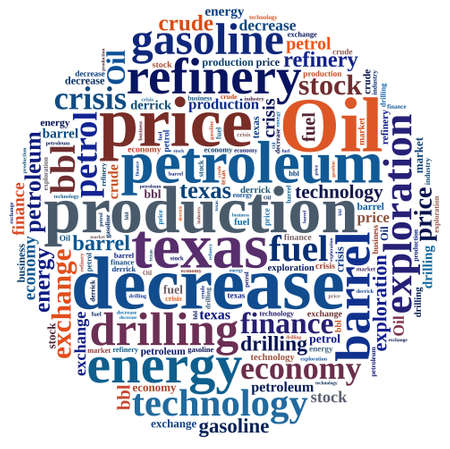 energy market: Illustration with word cloud on the price of oil.