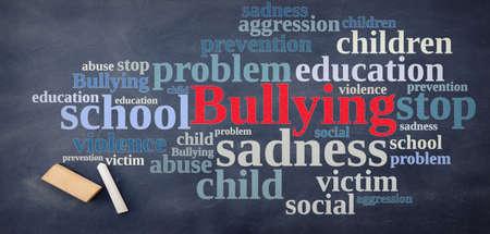 relating: Blackboard with word cloud relating to Bullying.