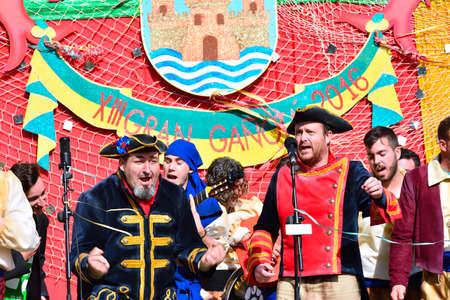 chorus: EL PUERTO DE SANTA MARIA, SPAIN - FEBRUARY 7: Typical carnival chorus (chirigota) sing during the carnival in the streets in January 7, 2016 in el Puerto de Santa Maria, Spain. Editorial