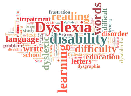 dyslexic: Illustration with word cloud about dyslexia