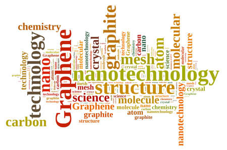 graphene: Illustration with word cloud about graphene. Stock Photo
