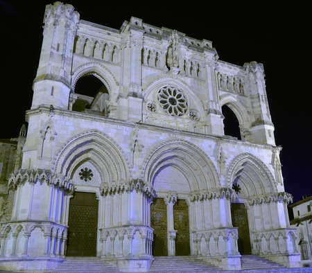 night time: View on medieval white cathedral in Spain at night time