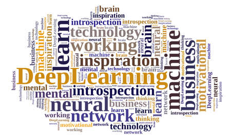 introspection: Illustration with word cloud on Deep Learning. Stock Photo