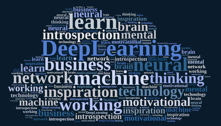 thinking machines: Illustration with word cloud on Deep Learning. Stock Photo