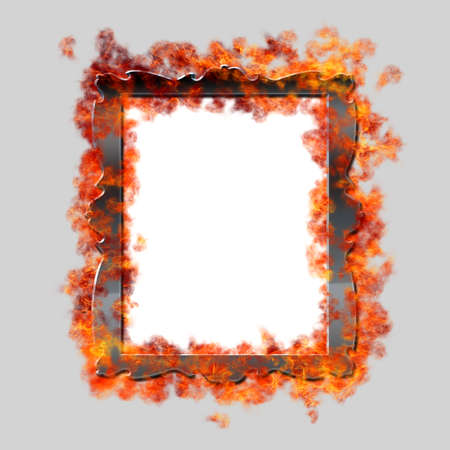 framed: Burning framed mirror on grey background Stock Photo