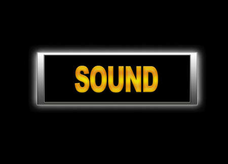 lighted: Illustration of yellow sound word on black signboard against of black background Stock Photo