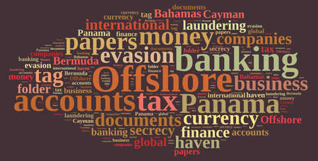 Illustration with word cloud on Offshore Companies. Stock Photo
