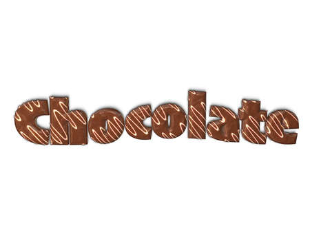 choco: Letters of word chocolate covered with dark chocolate on white background.3D rendering