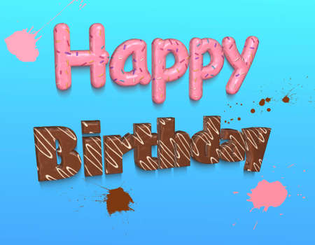 topping: Words Happy Birthday covered with pink topping and confetti,chocolate and white topping on blue background.3D rendering.