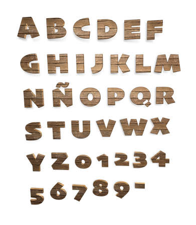 numerals: Isolated wooden alphabet,numerals and dash on white background