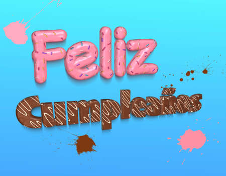 topping: Words Happy Birthday in spanish covered with pink topping and confetti,chocolate and white topping on blue background.3D rendering. Stock Photo