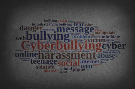 harass: Blackboard with word cloud on cyberbullying.3D rendering