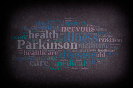 parkinson's: Word cloud blackboard on Parkinsons disease. 3D rendering. Stock Photo