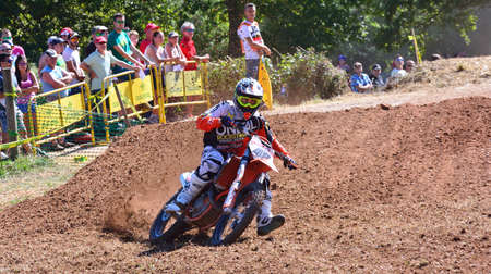 cros: SARIEGO, SPAIN - AUGUST 22: Legendary Sariego motocross test in August 22, 2016 in Sariego, Spain. Joan Cros rider with the number 48.
