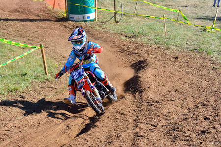 pirelli: SARIEGO, SPAIN - AUGUST 22: Legendary Sariego motocross test in August 22, 2016 in Sariego, Spain. Pablo Gutierrez rider with the number 27. Editorial