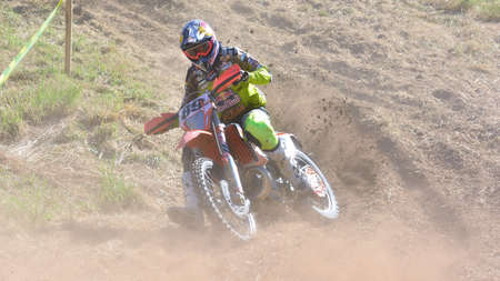 gomez: SARIEGO, SPAIN - AUGUST 22: Legendary Sariego motocross test in August 22, 2016 in Sariego, Spain. Alfredo Gomez rider with the number 89.