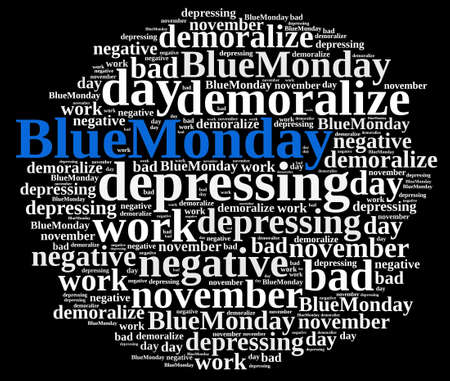 worst: Illustration with word cloud on Blue Monday, the worst day of the year.3D rendering.