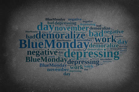 the worst: Blackboard with word cloud on Blue Monday, the worst day of the year.3D rendering