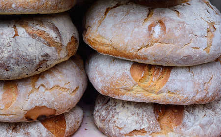 crunchy: Close-up of delicious crunchy and fresh bread in basket Stock Photo