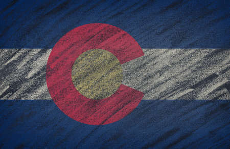 colorado flag: Close-up of national Colorado state flag painted with colored chalk on a blackboard.