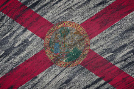 florida state: Close-up of national Florida state flag painted with colored chalk on a blackboard.