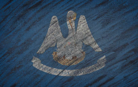 louisiana state: Close-up of national Louisiana state flag painted with colored chalk on a blackboard. 3D rendering