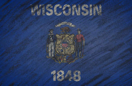 wisconsin state: Close-up of national Wisconsin state flag painted with colored chalk on a blackboard. 3D rendering