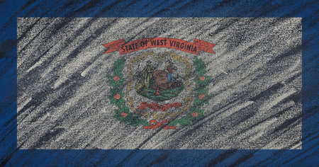 3d virginia: Close-up of national West Virginia state flag painted with colored chalk on a blackboard. 3D rendering