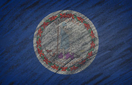 3d virginia: Close-up of national Virginia state flag painted with colored chalk on a blackboard. 3D rendering