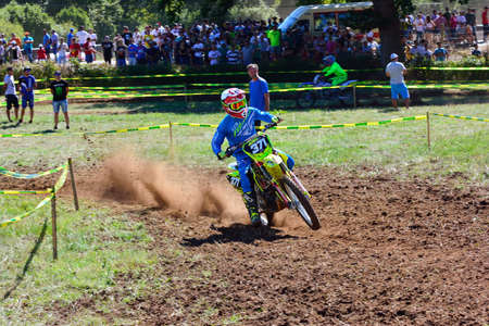 anton: SARIEGO, SPAIN - AUGUST 22: Legendary Sariego motocross test in August 22, 2016 in Sariego, Spain. Joel Anton rider with the number 371.