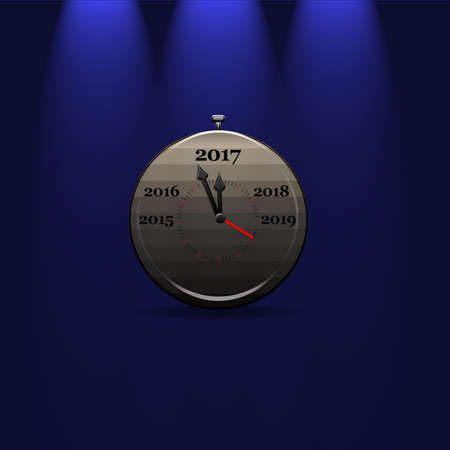 stop watch: 3D rendering of grey stop watch with arrows showing 2017 year on blue isolated background with illumination above.