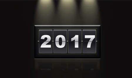 reflecting: Illustration of 2017 year on black background illuminated and reflecting. 3D rendering. Stock Photo