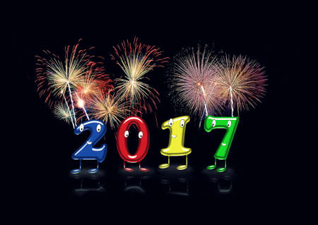 Colorful 2017 numerals with eyes,mouths and feet partying new year with firework.Isolate.Black background. 3D rendering.