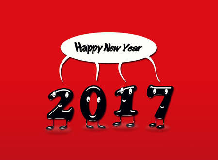 Cartoon of 2017 numerals with speech buble with text Happy New Year on red background. 3d rendering.