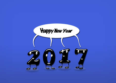 speech buble: Cartoon of 2017 numerals with speech buble with text Happy New Year on blue background. 3d rendering. Stock Photo
