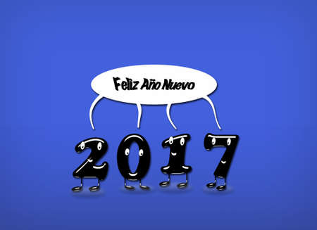 buble: Cartoon of 2017 numerals with speech buble with text Happy New Year written in Spanish. 3d rendering.