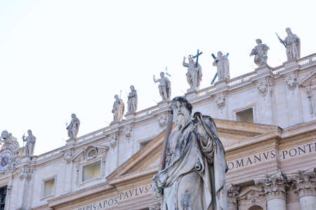 Statue of St. Paul in St. Peters Square in the Vatican. Stock Photo